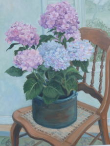 Cut Flowers on Chair (still life)