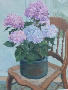 Cut Flowers on Chair (still life)