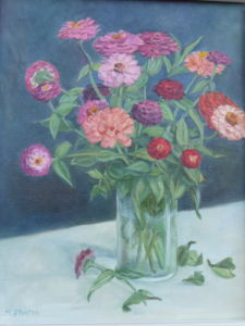 Flowers in Vase on Table (still life)